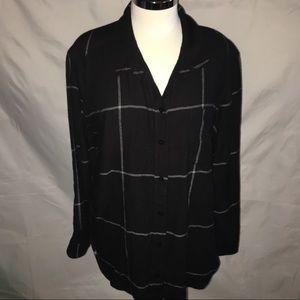 ATHLETA black&white window pane flannel shirt XL
